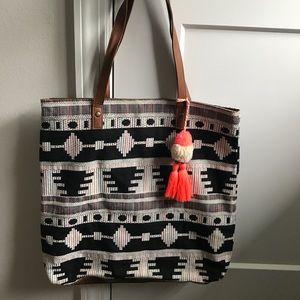 Boho Tote Bag with Pom Tassel